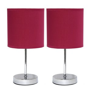 Simple Designs Chrome Mini Basic Table Lamp with Fabric Shade - Red and Chrome - Set of 2