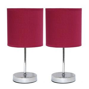 Mini lampes de table Simple Designs de base chromée avec abat-jour en tissu rouge, ens. de 2