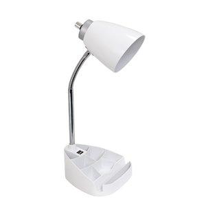Lampe de bureau LimeLights avec organisateur et port USB, blanche, 18,5 po