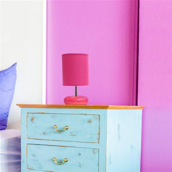 Petite lampe de chevet Simple Designs de table à l'aspect de pierre, rose, 10,24 po