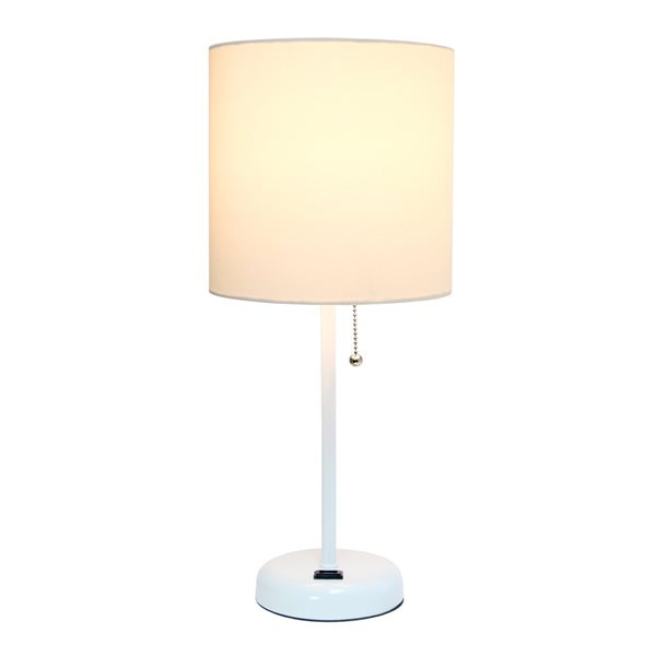 LimeLights White Stick Lamp with Charging Outlet and Fabric Shade - White - 19.5-in
