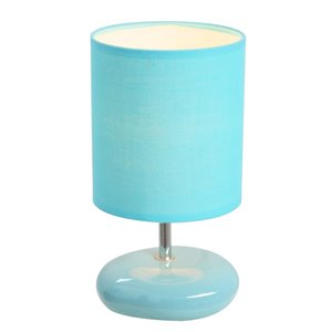 Simple Designs Stonies Small Stone Look Table Bedside Lamp - Blue - 10.24-in