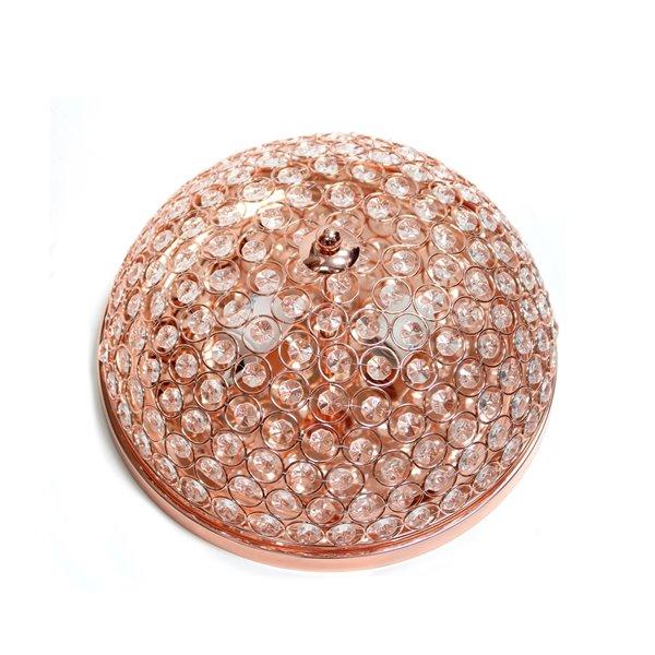 Plafonnier encastré Élipse de Elegant Designs en cristal à 2 Lumière, or rose
