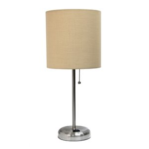 LimeLights Stick Lamp with Charging Outlet and Fabric Shade - Brushed Steel and Tan - 19.5-in