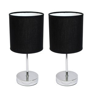 Simple Designs Chrome Mini Basic Table Lamp with Fabric Shade - Black and Chrome - Set of 2