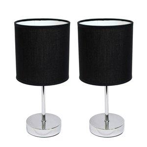 Mini lampes de table Simple Designs de base chromée avec abat-jour en tissu noir, ens. de 2