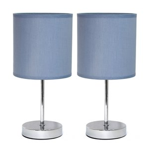 Simple Designs Chrome Mini Basic Table Lamp with Fabric Shade - Purple and Chrome - Set of 2