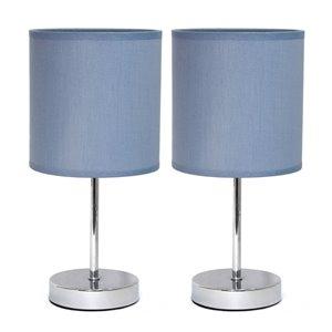 Mini lampes de table Simple Designs de base chromée avec abat-jour en tissu mauve, ens. de 2