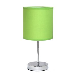 Simple Designs Chrome Mini Basic Table Lamp with Fabric Shade - Chrome and Green - 11-in