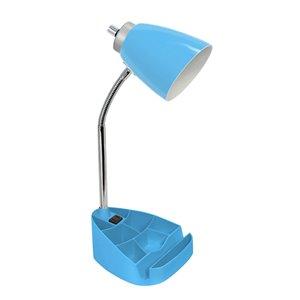 Lampe de bureau LimeLights avec prise de chargement, bleue, 18,5 po