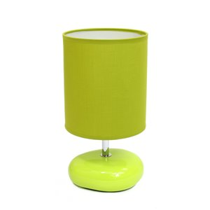 Simple Designs Stonies Small Stone Look Table Bedside Lamp - Green - 10.24-in