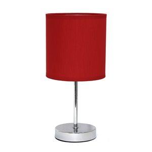 Mini lampe de table Simple Designs de base chromée avec abat-jour en tissu, rouge, 11 po
