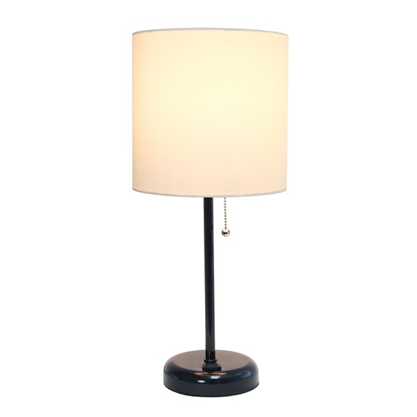 LimeLights Black Stick Lamp with Charging Outlet and Fabric Shade - Black and White - 19.5-in