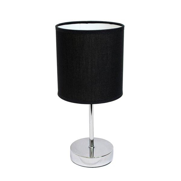 Mini lampe de table Simple Designs de base chromée avec abat-jour en tissu, noir, 11 po