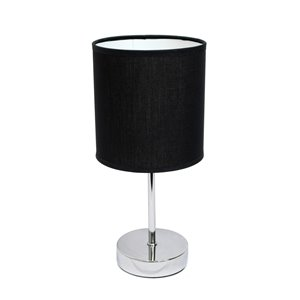 Simple Designs Chrome Mini Basic Table Lamp with Fabric Shade - Chrome and Black - 11-in