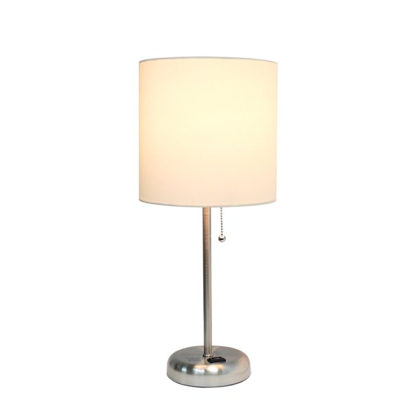 LimeLights Stick Lamp with Charging Outlet and Fabric Shade - Brushed Steel and White - 19.5-in