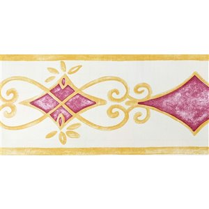 Dundee Deco Self-Adhesive Wallpaper Border with Scroll Design - 33-ft x 4-in - Gold and Magenta