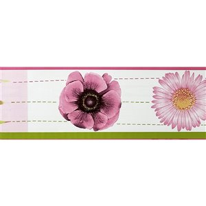 Dundee Deco Self-Adhesive Wallpaper Border with Aster Flowers Pattern - 33-ft x 4-in - Pink and Green