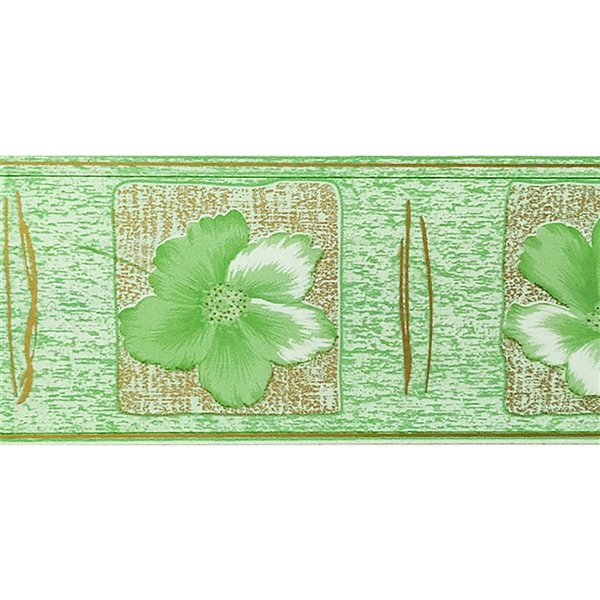 Dundee Deco Self-Adhesive Wallpaper Border with Flowers in Frames - 33-ft x 4-in - Green