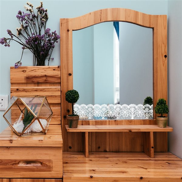 Dundee Deco Self-Adhesive Wallpaper Border for  Mirror and Window - Geometric Latticework Design - 33-ft x 4-in - White