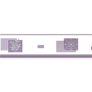 Dundee Deco Self-Adhesive Wallpaper Border with Abstract Pattern - 33-ft x 4-in - Purple and White