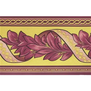 Dundee Deco Self-Adhesive Wallpaper Border with Damask Leaves Design - 33-ft x 4-in - Purple and Yellow