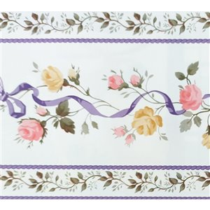 Dundee Deco Self-Adhesive Wallpaper Border with Flowers on Vine - 33-ft x 4-in - Pink, Purple and White