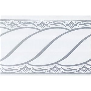 Dundee Deco Self-Adhesive Wallpaper Border with Scroll Design - 33-ft x 4-in - Grey and White