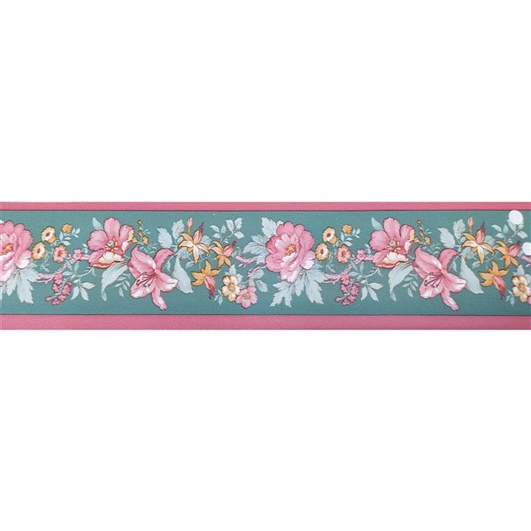 Dundee Deco Self-Adhesive Wallpaper Border with Flowers on Vine - 33-ft x 4-in - Pink, Gold and Grey Teal