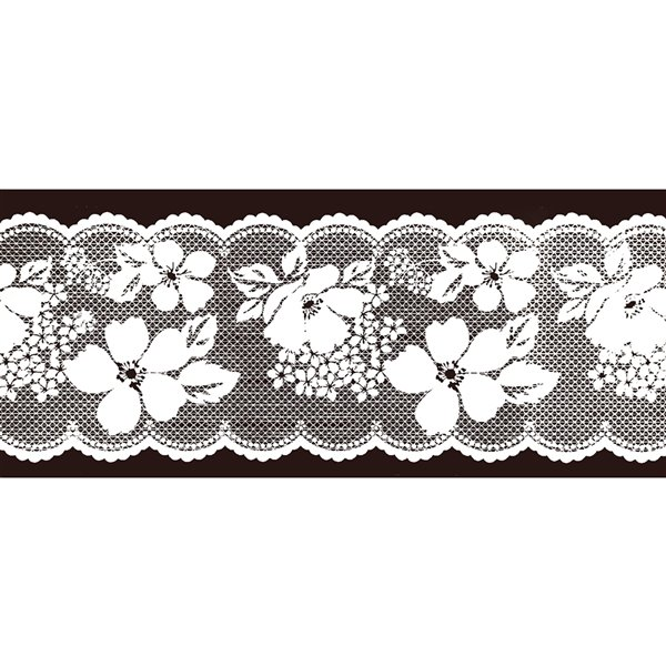 Dundee Deco Self-Adhesive Wallpaper Border for  Mirror and Window - Bloomed Floral Design - 33-ft x 4-in - White