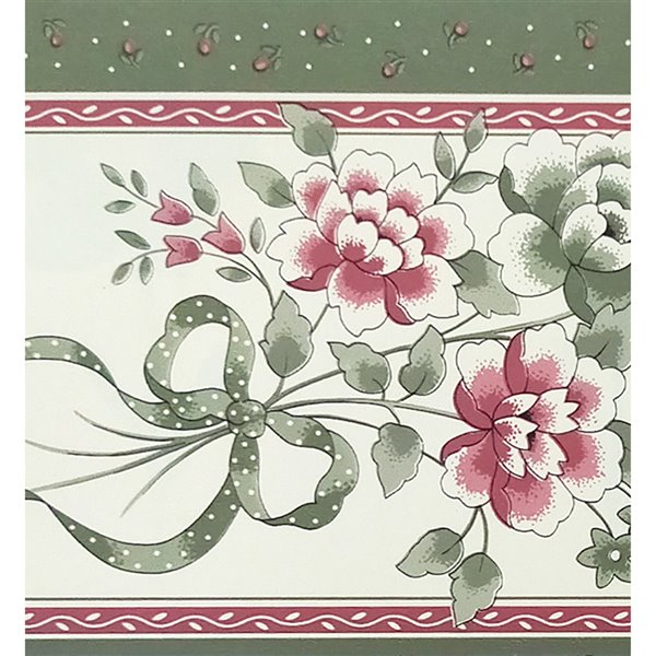 Dundee Deco Self-Adhesive Wallpaper Border with Flower Bouquet - 33-ft x 4-in - Pink and Sage Green