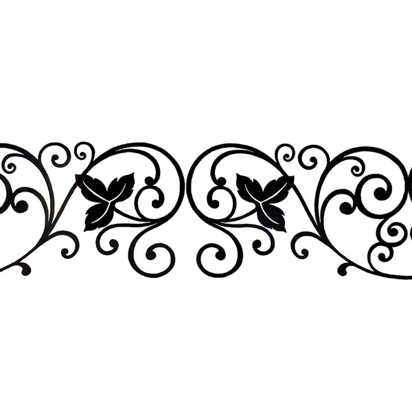 Dundee Deco Self-Adhesive Wallpaper Border for  Mirror and Window - Damask Design - 33-ft x 4-in - Black
