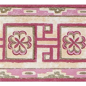 Dundee Deco Self-Adhesive Wallpaper Border with Lattice Design - 33-ft x 4-in - Pink and Beige