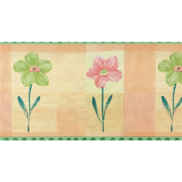 Dundee Deco Self-Adhesive Wallpaper Border with Flowers for Kids - 33-ft x 4-in - Green and Beige