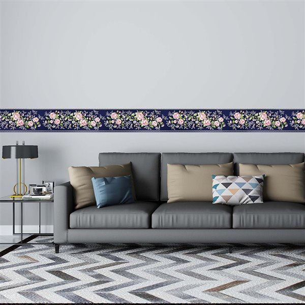 Dundee Deco Self-Adhesive Wallpaper Border with Flowers on Vine - 33-ft x 4-in - Pink and Dark Purple