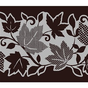 Dundee Deco Self-Adhesive Wallpaper Border for  Mirror and Window - Floral with Leaves Design - 33-ft x 4-in - Silver