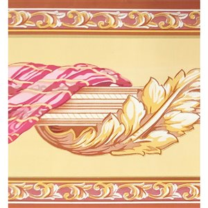Dundee Deco Self-Adhesive Wallpaper Border with Scroll Design - 33-ft x 4-in - Gold and Pink