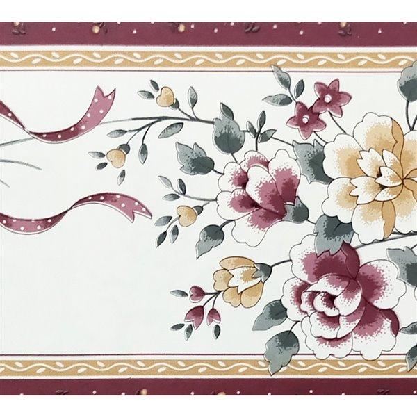 Dundee Deco Self-Adhesive Wallpaper Border with Flowers Pattern - 33-ft x 4-in - Magenta Pink and White