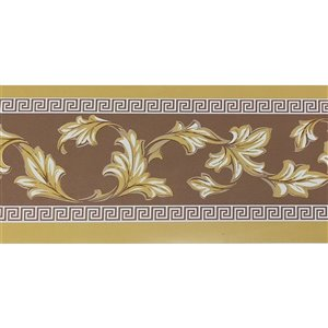 Dundee Deco Self-Adhesive Wallpaper Border with Leaves Scrolls Design - 33-ft x 4-in - Mustard Yellow and Green