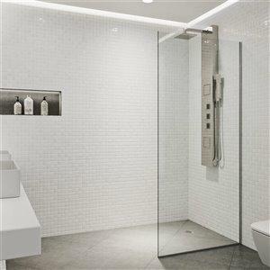 Paroi de douche Zenith de VIGO en verre trempé transparent, acier inoxydable, 74 po x 34.125 po