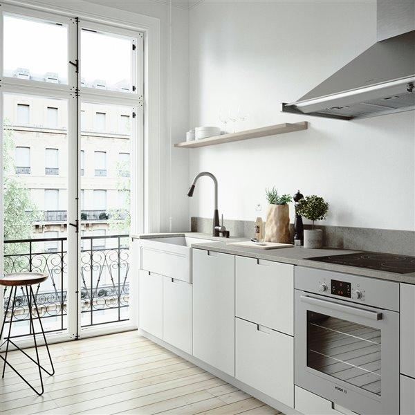 Évier de cuisine VIGO Farmhouse blanc mat avec drain et planche à découper, 33 po
