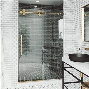 Porte de douche coulissante Elan de VIGO ajustable sans cadre, or mat brossé, 56 po x 74 po