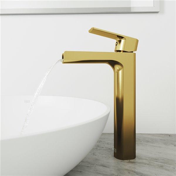 Robinet pour vasque de salle de bain Amada de VIGO fini or mat brossé