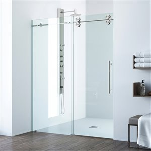 Porte de douche VIGO en verre trempé transparent, acier inoxydable, 74 po x  68 po