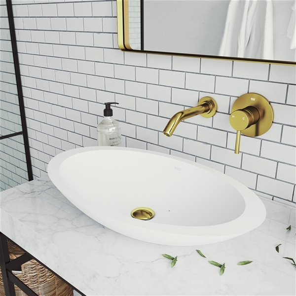 Vigo Olus Wall Mount Bathroom Faucet In Matte Brushed Gold Vg05001mg Rona