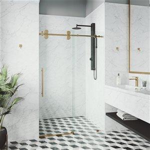Porte de douche coulissante Elan de VIGO ajustable sans cadre, or mat brossé, 72 po x 74 po