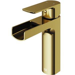 VIGO Ileana Single Hole Bathroom Faucet in Matte Brushed Gold