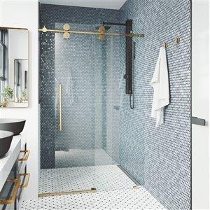 Porte de douche coulissante Elan de VIGO réglable sans cadre, or mat brossé, 68 po x 74 po