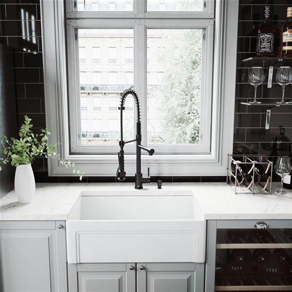 VIGO Pull-Down Kitchen Faucet with Soap Dispenser