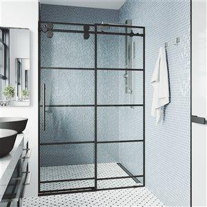 Porte de douche coulissante et réglable Elan de VIGO à grille, noir mat, 60 po x 74 po